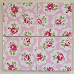 Set of 4 Ceramic Coasters in Cath Kidston Provence Rose Pink